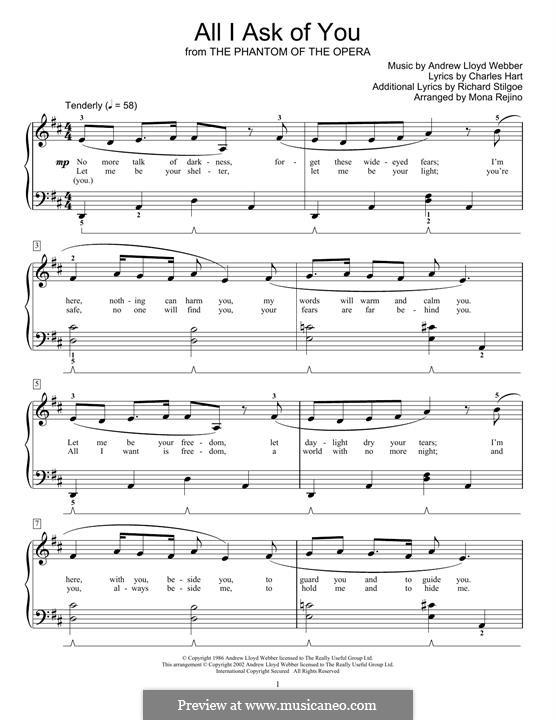 All I Ask of You: Для фортепиано (легкий уровень) by Andrew Lloyd Webber