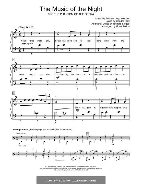 The Music of the Night: Для фортепиано (легкий уровень) by Andrew Lloyd Webber