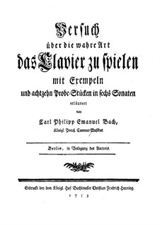 Versuch über die wahre Art das Clavier zu spielen, H 868, 870: Versuch über die wahre Art das Clavier zu spielen by Карл Филипп Эммануил Бах