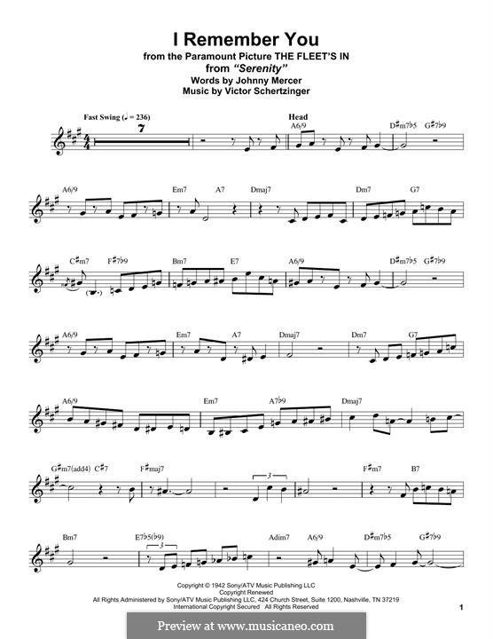 I Remember You (Diana Krall): Для альтового саксофона by Victor Schertzinger