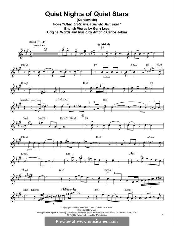 Corcovado (Quiet Nights of Quiet Stars): Для альтового саксофона by Antonio Carlos Jobim