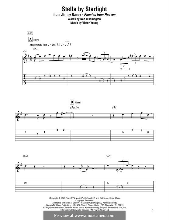 Stella By Starlight: For electric guitar by Victor Young