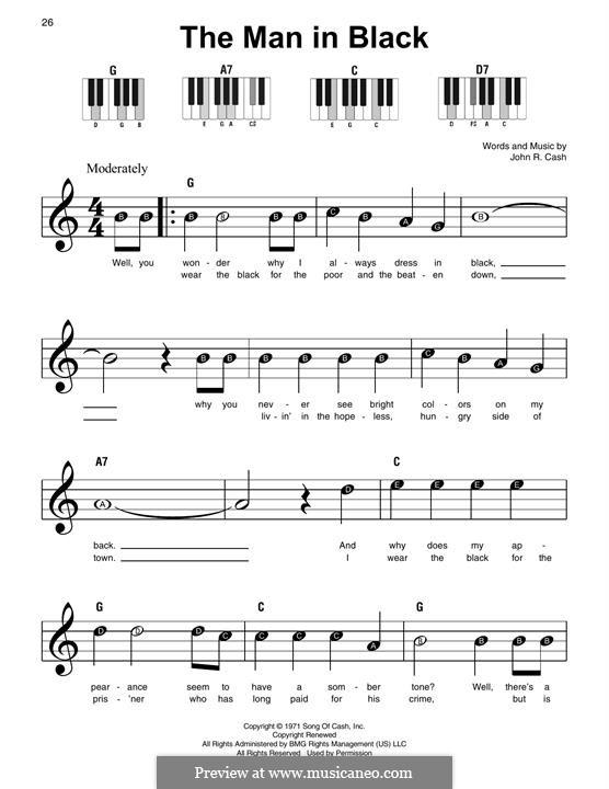 The Man in Black: Для фортепиано by Johnny Cash
