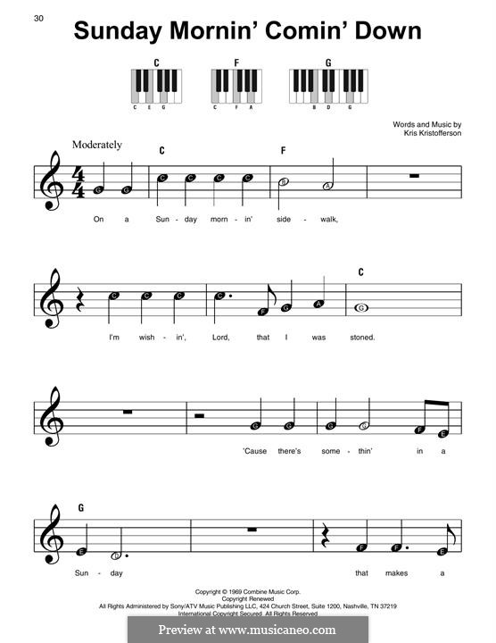 Sunday Mornin' Comin' Down: Для фортепиано by Kris Kristofferson