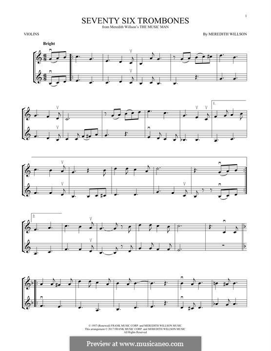 Seventy Six Trombones: Для скрипки by Meredith Willson