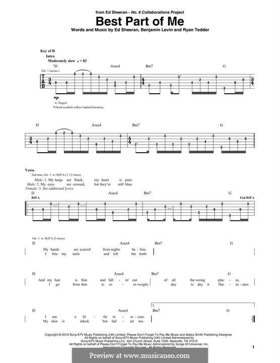 Best Part of Me (feat. YEBBA): Для гитары by Ed Sheeran, Benjamin Levin, Ryan B Tedder