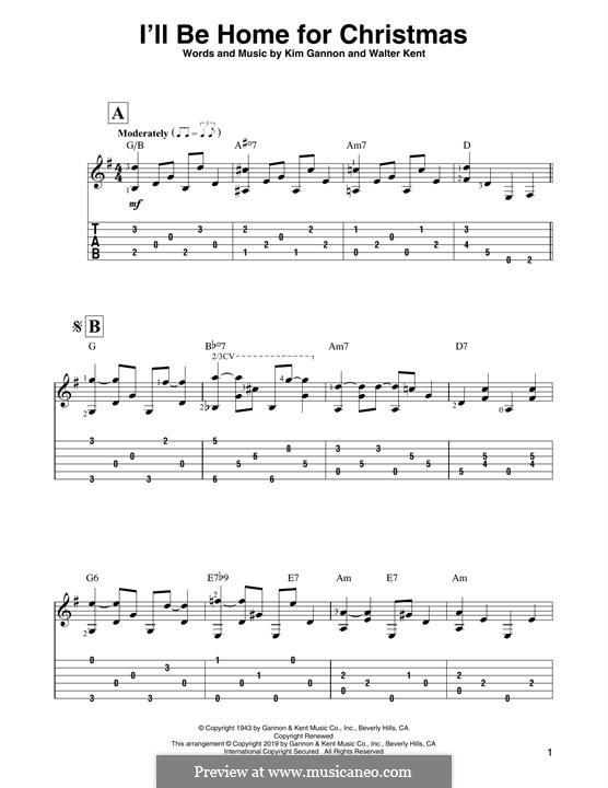I'll Be Home for Christmas: Для гитары by Kim Gannon, Walter Kent