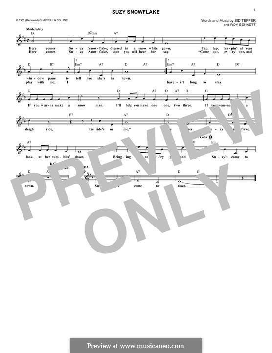 Suzy Snowflake (Rosemary Clooney): Для клавишного инструмента by Roy C. Bennett, Sid Tepper