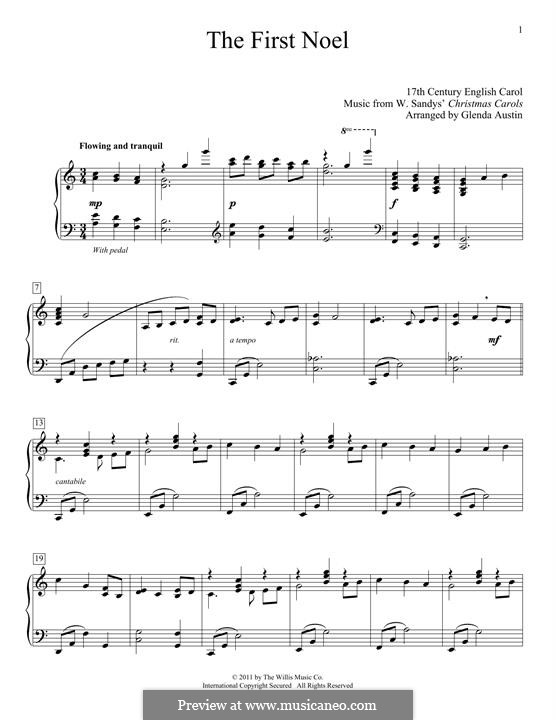 The First Nowell (The First Noël), for Piano: Для одного исполнителя by folklore