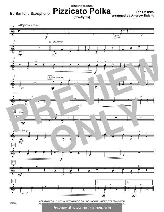 Сильвия : Pizzicato Polka, for quartet saxophones – Eb Baritone Saxophone part by Лео Делиб