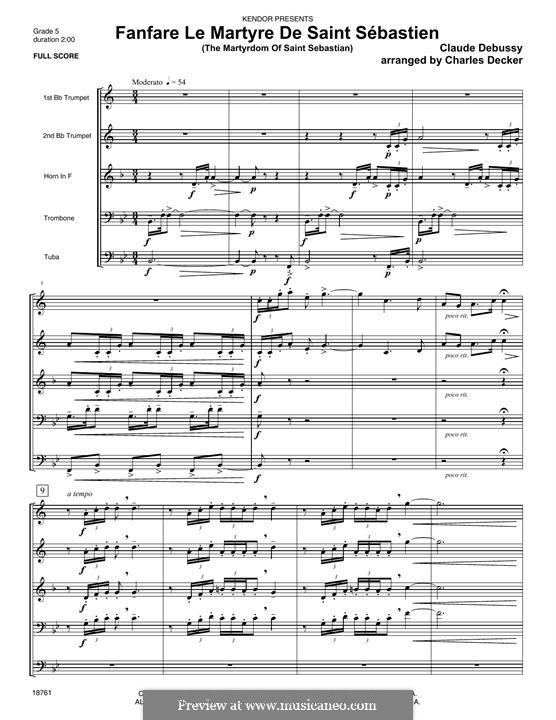 Fanfare Le Martyre De Saint Sebastien (The Martyrdom Of Saint Sebastian): Партитура by Клод Дебюсси