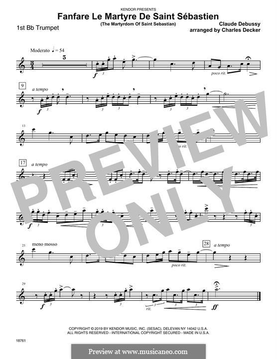Fanfare Le Martyre De Saint Sebastien (The Martyrdom Of Saint Sebastian): 1st Bb Trumpet part by Клод Дебюсси