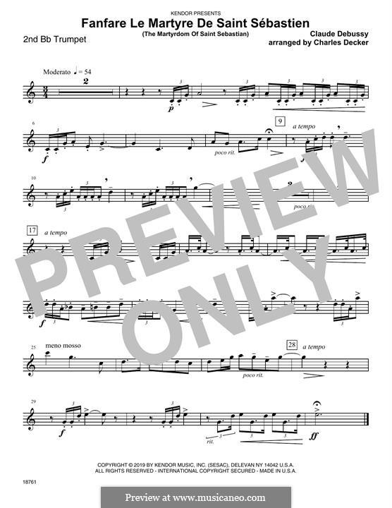 Fanfare Le Martyre De Saint Sebastien (The Martyrdom Of Saint Sebastian): 2nd Bb Trumpet part by Клод Дебюсси