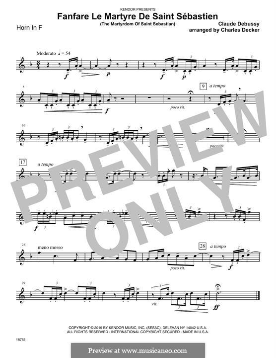 Fanfare Le Martyre De Saint Sebastien (The Martyrdom Of Saint Sebastian): Horn in F part by Клод Дебюсси