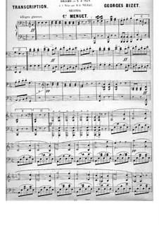 Сюита I: Менуэт, для фортепиано в четыре руки by Жорж Бизе