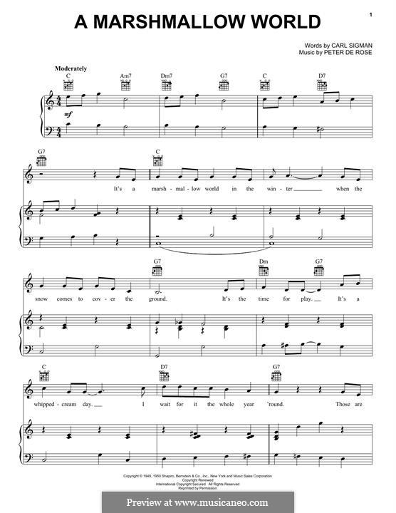 A Marshmallow World: Для голоса и фортепиано (или гитары) by Peter de Rose
