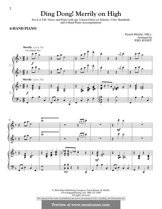 Ding Dong! Merrily on High (Printable Scores): Piano Accompaniment by folklore