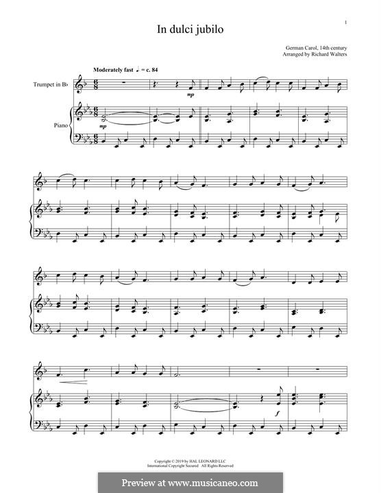 In dulci jubilo: For trumpet and piano by folklore