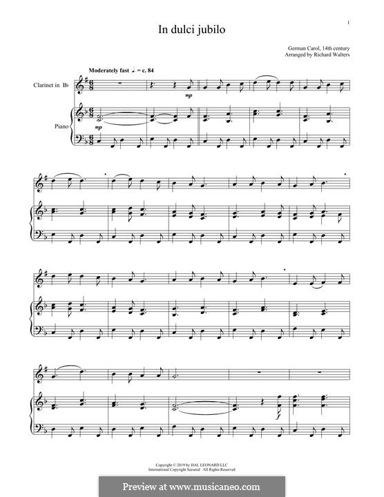 In dulci jubilo: Для кларнета и фортепиано by folklore