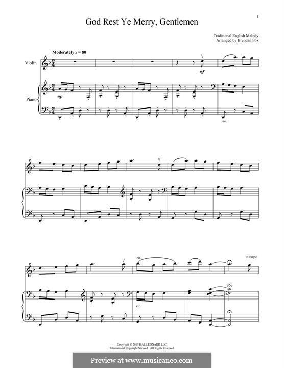 God Rest You Merry, Gentlemen (Printable Scores): Для скрипки и фортепиано by folklore