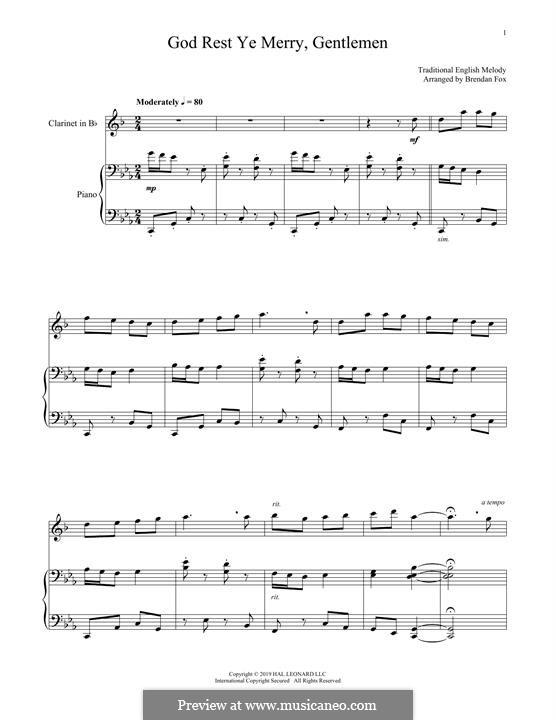 God Rest You Merry, Gentlemen (Printable Scores): Для кларнета и фортепиано by folklore