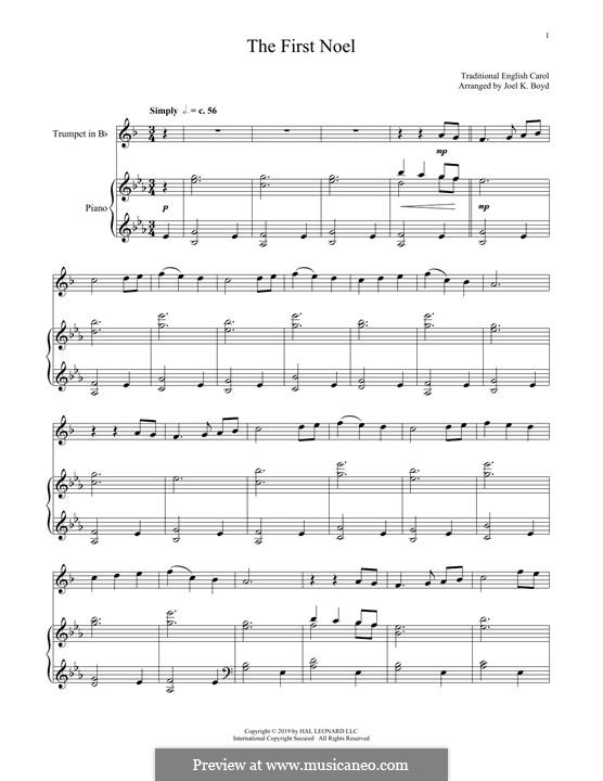 The First Nowell (The First Noël), Printable scores: For trumpet and piano by folklore