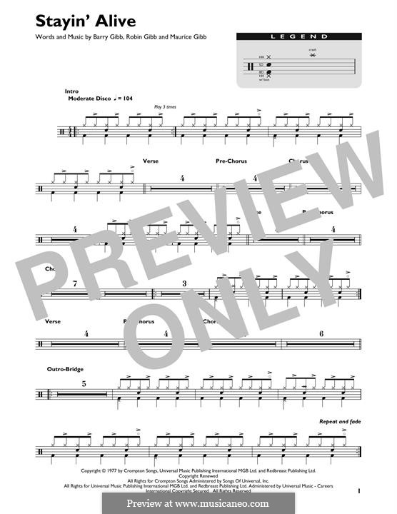 Stayin' Alive (The Bee Gees): Drum set by Barry Gibb, Maurice Gibb, Robin Gibb