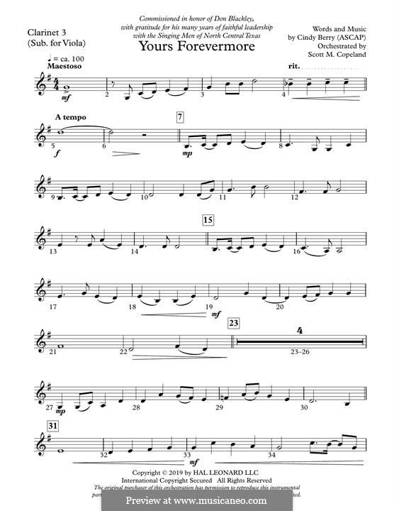 Yours Forevermore: Clarinet 3 (Sub. Viola) part by Cindy Berry