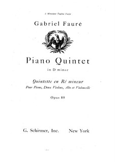 Фортепианный квинтет No.1 ре минор, Op.89: Партитура, Партии by Габриэль Форе