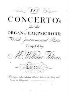 Шесть концертов для органа (или клавесина) с оркестром, Op.1: Партия первой скрипки рипиено by William Felton