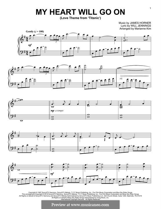 My Heart Will Go On (Love Theme from Titanic), for Piano: Для одного исполнителя by James Horner