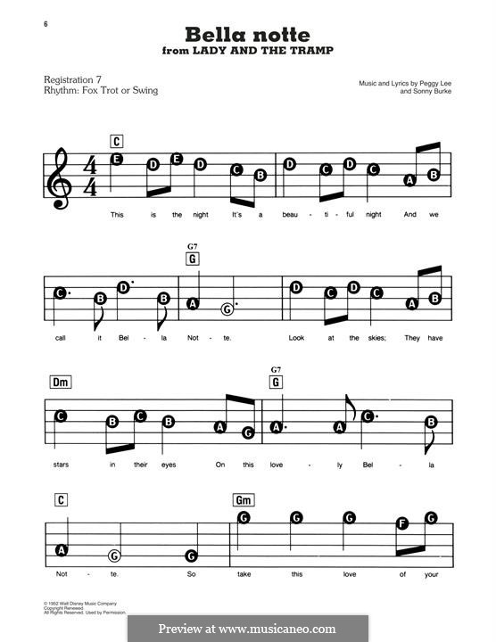 Bella Notte (This is the Night): Для фортепиано by Peggy Lee, Sonny Burke