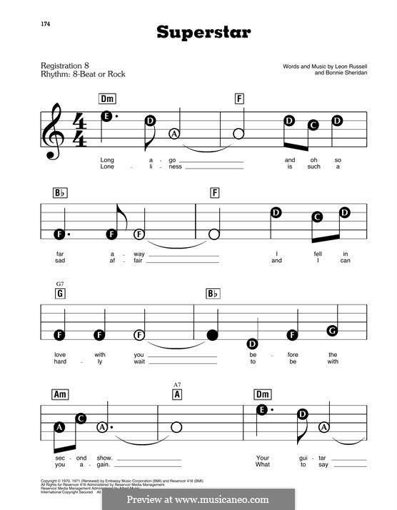 Superstar (Carpenters): Для фортепиано by Bonnie Sheridan, Leon Russell