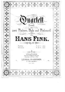 Струнный квартет ми минор, Op.20: Партии by Hans Fink
