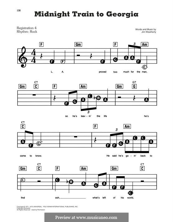 Midnight Train to Georgia (Gladys Knight and The Pips): Для фортепиано (легкий уровень) by Jim Weatherly
