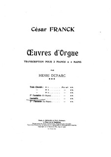 Три пьесы для большого органа: Кантабиле, для двух фортепиано в четыре руки by Сезар Франк
