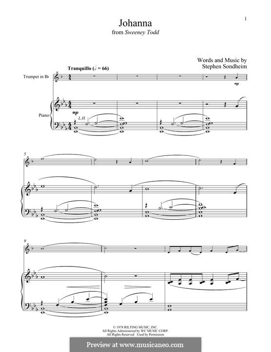Johanna (from Sweeney Todd): For trumpet and piano by Stephen Sondheim
