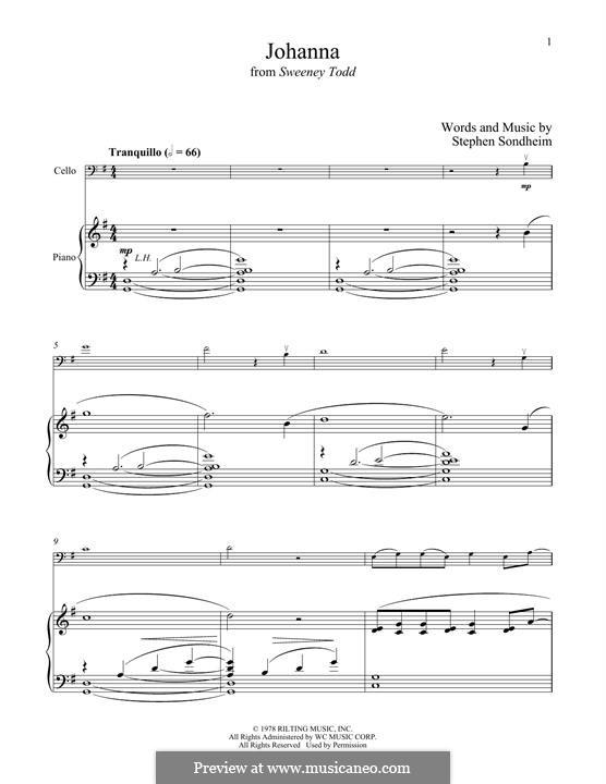 Johanna (from Sweeney Todd): Для виолончели и фортепиано by Stephen Sondheim