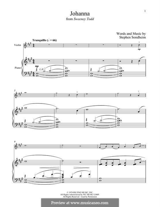 Johanna (from Sweeney Todd): Для скрипки и фортепиано by Stephen Sondheim