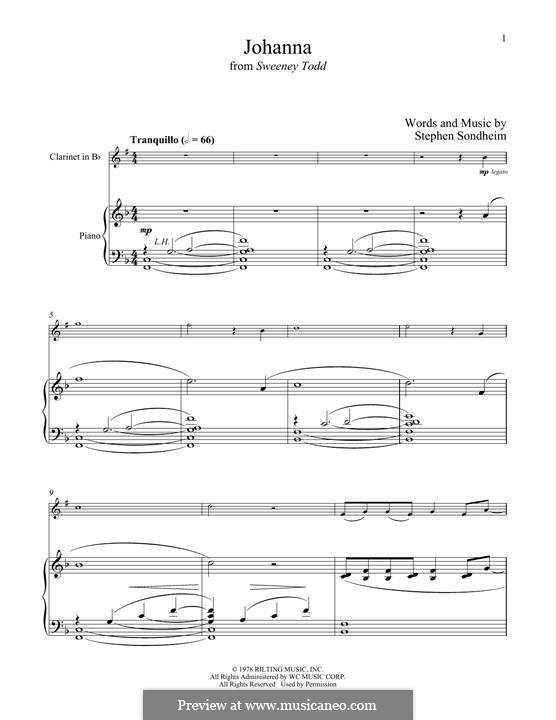 Johanna (from Sweeney Todd): Для кларнета и фортепиано by Stephen Sondheim