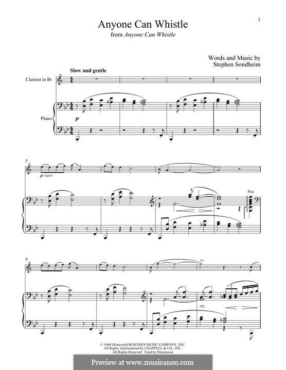 Anyone Can Whistle: Для кларнета и фортепиано by Stephen Sondheim