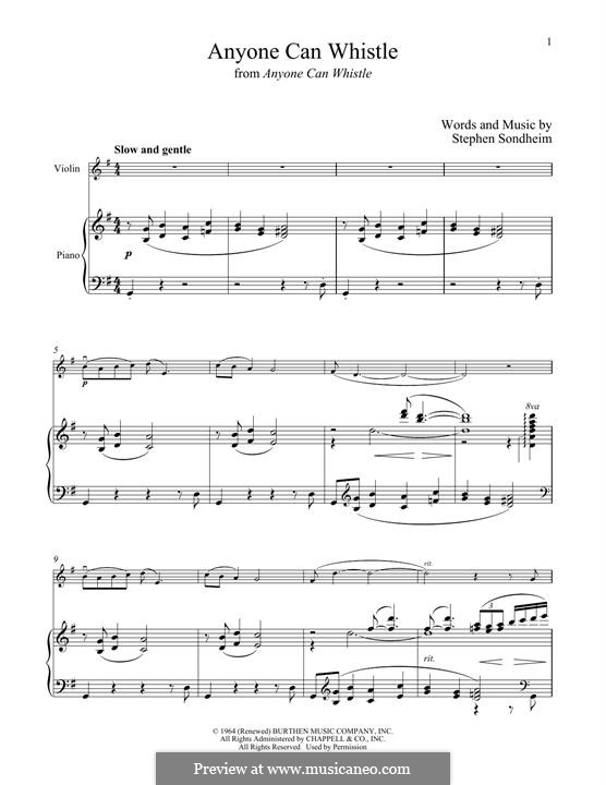Anyone Can Whistle: Для скрипки и фортепиано by Stephen Sondheim