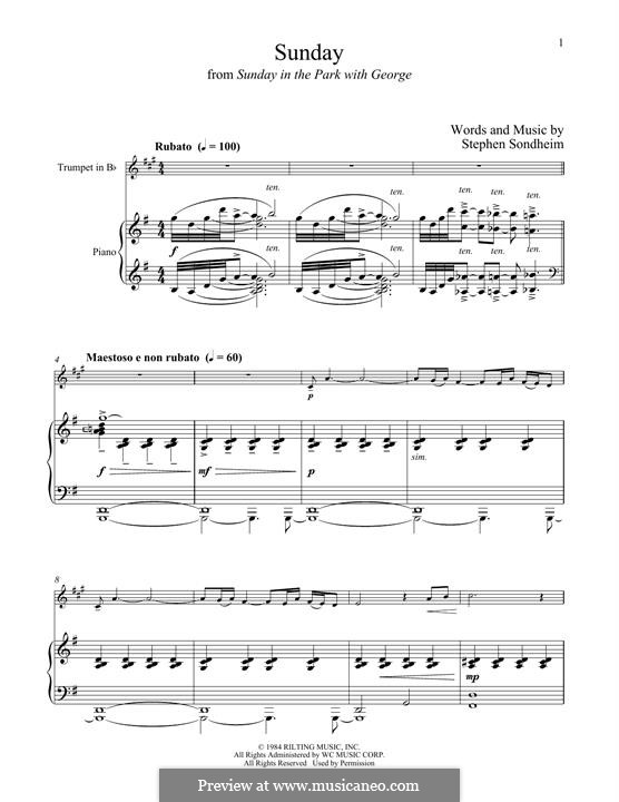 Sunday (from Sunday in the Park with George): For trumpet and piano by Stephen Sondheim