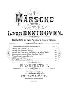 Эгмонт, Op.84: Марш, для двух фортепиано в восемь рук – партия первого фортепиано by Людвиг ван Бетховен