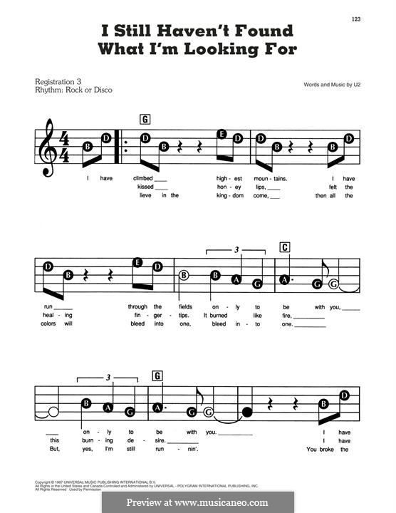 I Still Haven't Found What I'm Looking for: Для фортепиано by U2