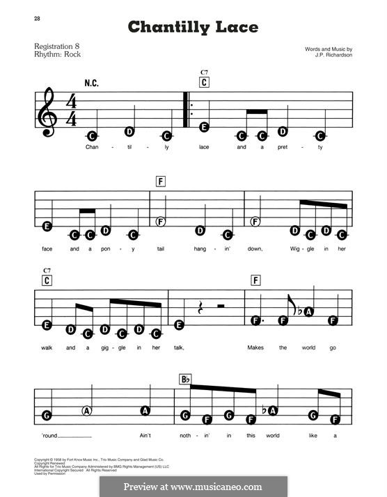 Chantilly Lace (The Big Bopper): Для фортепиано (легкий уровень) by J.P. Richardson