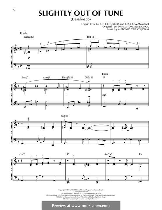 Desafinado (Slightly Out of Tune): Для фортепиано (jazz version) by Antonio Carlos Jobim