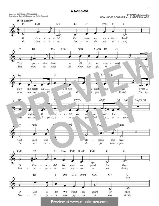 Ô Canada: Для клавишного инструмента by Каликса Лавалле
