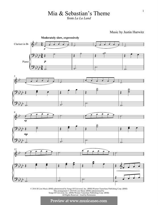 Mia and Sebastian's Theme (from La La Land): Для кларнета и фортепиано by Justin Hurwitz