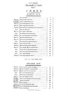 Пир Александра или Сила Музыки, HWV 75: Клавир с вокальной партией by Георг Фридрих Гендель